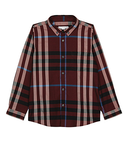 BURBERRY Fred check cotton shirt 4-14 years (Carmine+red