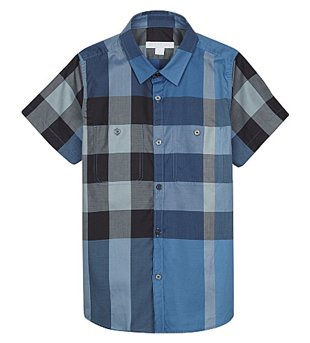 BURBERRY Camber check print cotton short-sleeved shirt 4-14 years (Cornflower+blue