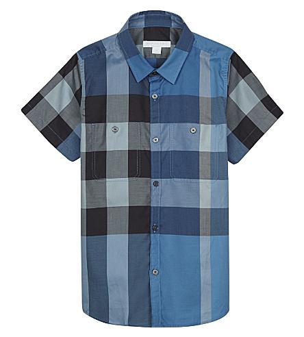 BURBERRY 曲面格纹打印棉短袖衬衫4-14 年 (矢车菊 + 蓝色