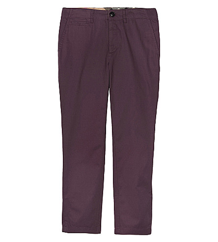 BURBERRY Teo straight fit cotton stretch chinos 4-14 years (Burgandy