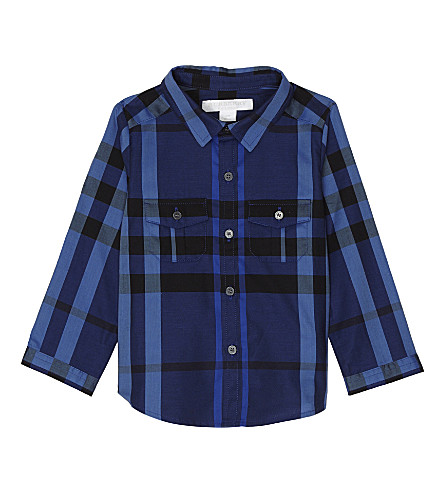 BURBERRY Trent check cotton shirt 6-36 months (Brilliant+blue