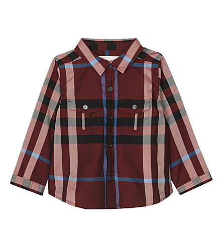 BURBERRY Trent check cotton shirt 6-36 months (Carmine+red
