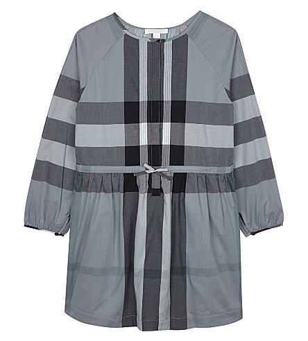 BURBERRY Agnes cotton frill dress 4-14 years (Pale+stone+blue