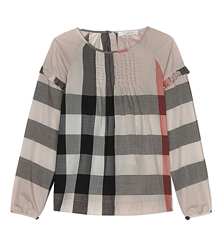 BURBERRY Aggy frilled cotton top 4-14 years (Vintage+pink