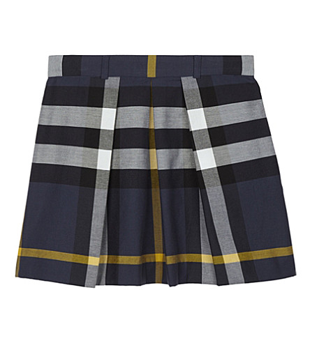 BURBERRY Pleated cotton skirt 4-14 years (Pale+navy