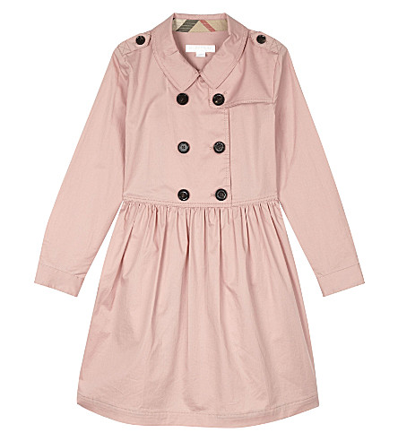 BURBERRY Lillyana cotton trench dress 4-14 years (Pale+rose