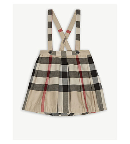 BURBERRY House check cotton dungaree skirt 6-48 months (Stone