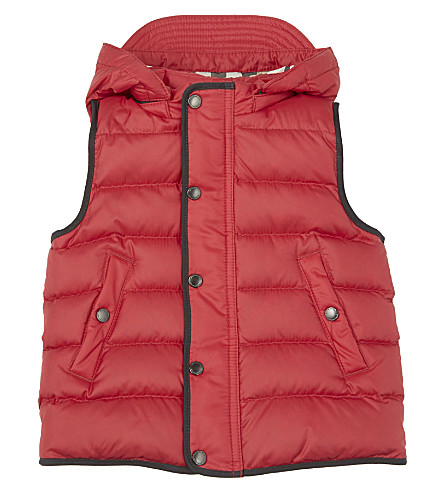BURBERRY Carlton hooded gilet 6-36 months (Parade+red