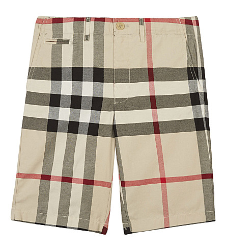 BURBERRY Check cotton chino-style shorts 4-14 years (Stone