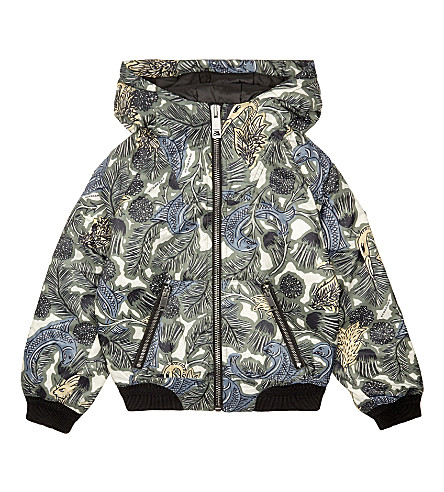 BURBERRY Konall hooded bomber jacket 6-14 years (Sage+green