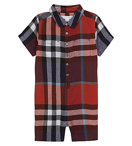 BURBERRY Checked short sleeve onesie (Ornge+red/crnflrw+bl