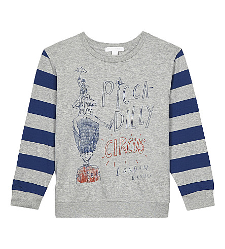BURBERRY Long sleeve Piccadilly Circus top 4-14 years (Bright+navy+blue