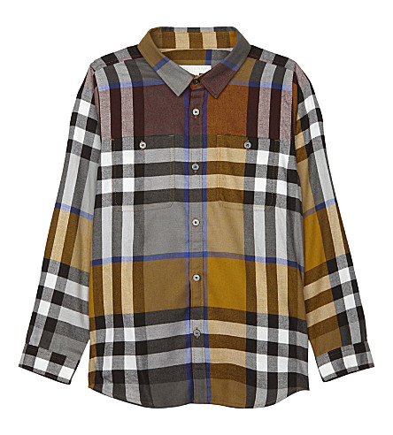 BURBERRY Checked cotton shirt 4-14 years (Ochre+yellow