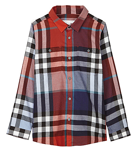 BURBERRY Checked cotton shirt 4-14 years (Orange+red