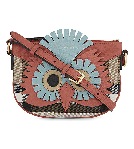 BURBERRY Owl motif snakeskin-trimmed leather cross-body bag (Cinnamon+red