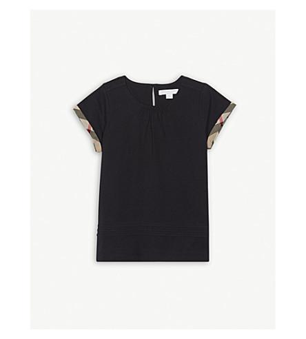 BURBERRY Check trim cotton T-shirt 4-14 years (Navy