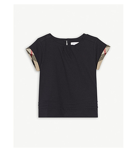 BURBERRY Giselle pleated cotton T-shirt 6-36 months (Navy