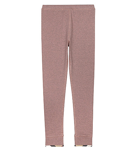 BURBERRY Penny check-lined hem cotton leggings 4-14 years (Pale+pink