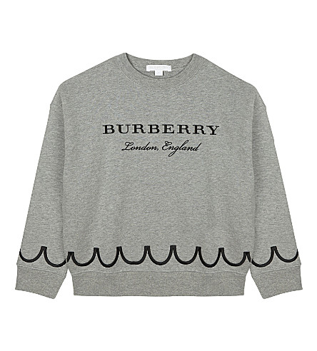 BURBERRY Embroidered cotton jumper 4-14 years (Grey+melange