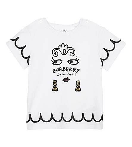 BURBERRY Fiona face print cotton T-shirt 6-36 months (White