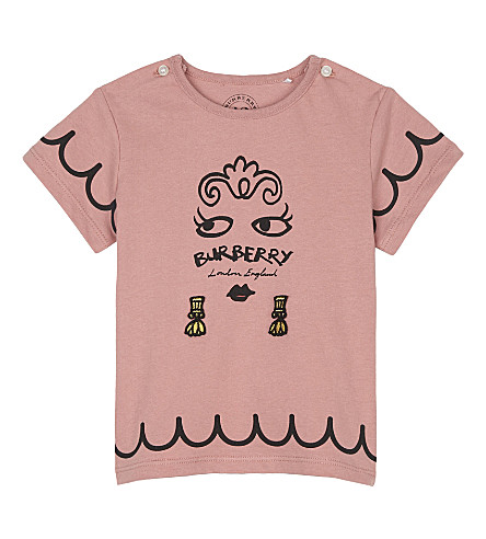 BURBERRY Fiona face print cotton T-shirt 6-36 months (Apricot+pink