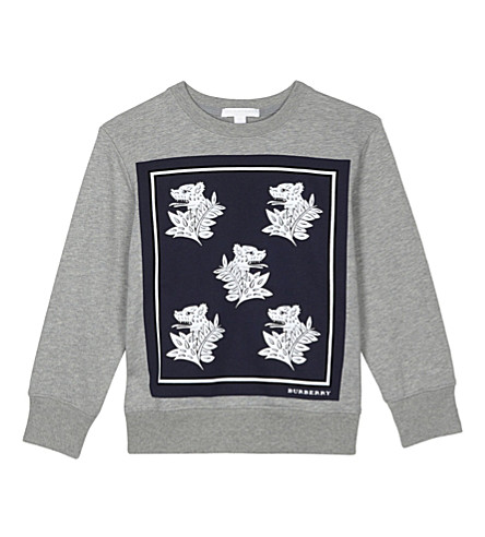 BURBERRY Danny print cotton jumper 4-14 years (Deep+blue
