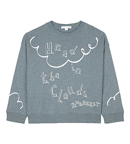 BURBERRY Head in the clouds print cotton jumper 4-14 years (Powder+blue