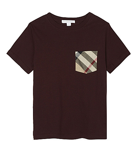 BURBERRY Check pocket cotton T-shirt 4-14 years (Oxblood