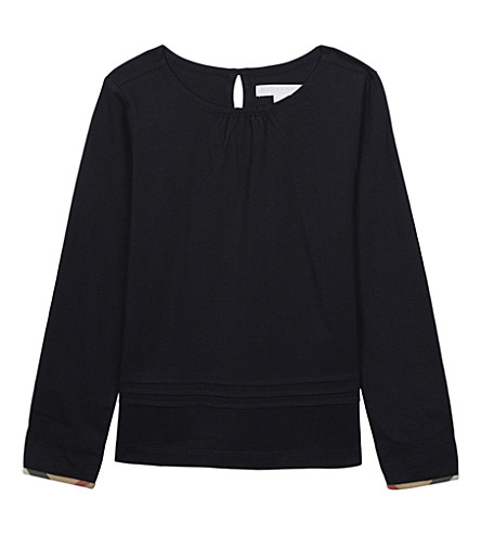 BURBERRY Long-sleeved cotton top 4-14 years (Navy