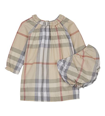 BURBERRY Amandine cotton smock dress & underwear 3-24 months (Pale+stone