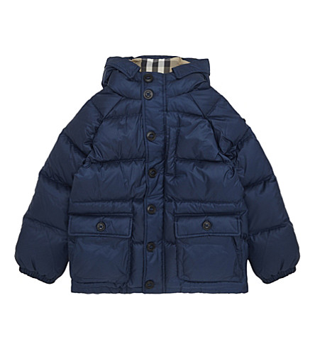 BURBERRY Lachlan hooded puffa jacket 4-14 years (Ink blue