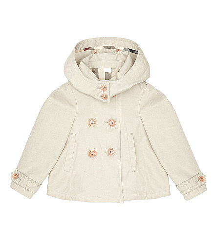 BURBERRY Brandy hooded cotton jacket 6-36 months (Stone
