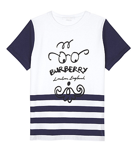 BURBERRY Beard face cotton T-shirt 4-14 years (Bright+navy
