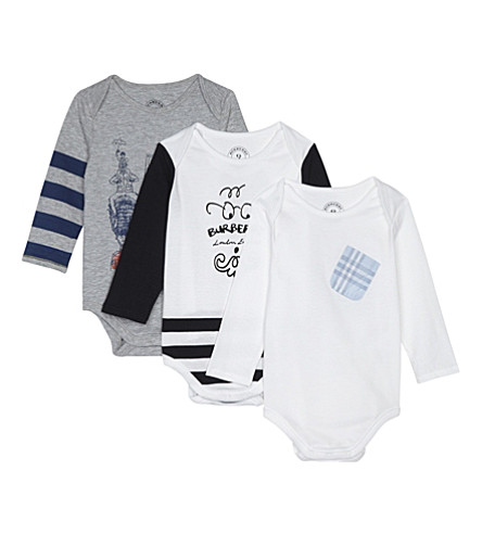 BURBERRY Graphic print cotton body suit set three pieces 3-9 months (White
