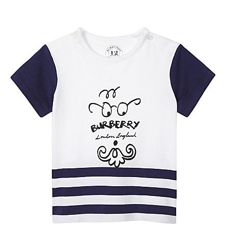 BURBERRY Beard face cotton T-shirt 6-36 months (Bright+navy