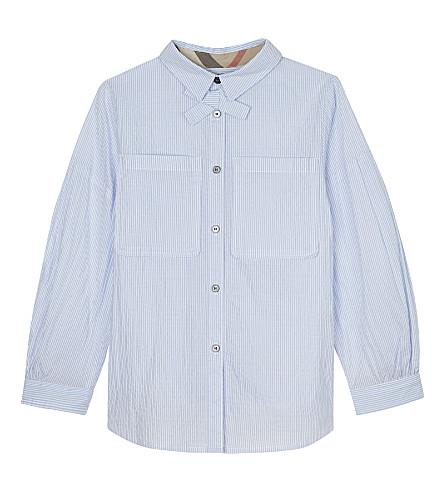 BURBERRY Fredrika cotton striped gathered shirt (Light+blue
