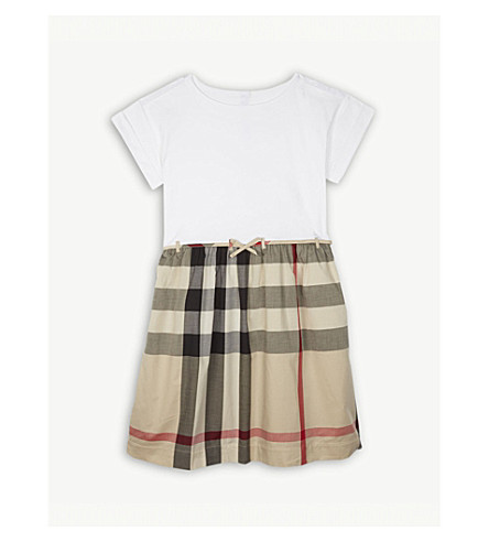 BURBERRY Rhonda check detail cotton dress 4-14 years (New+classic+check