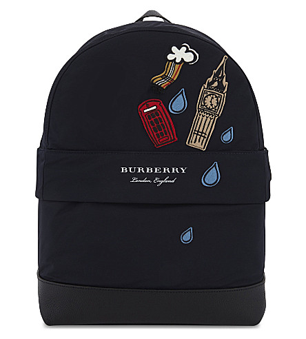 BURBERRY London slim nylon backpack (Ink