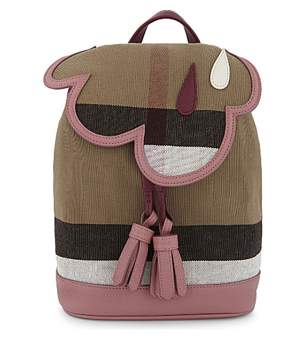 BURBERRY House Check mini canvas backpack (Mauve pink