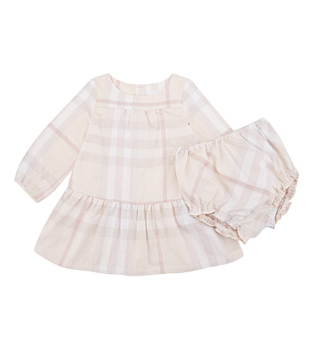 BURBERRY Kloey tiered dress and bloomers 3-24 months (Ice+pink