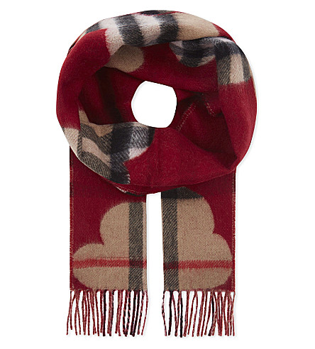 BURBERRY Reversible cashmere scarf (Parade+red