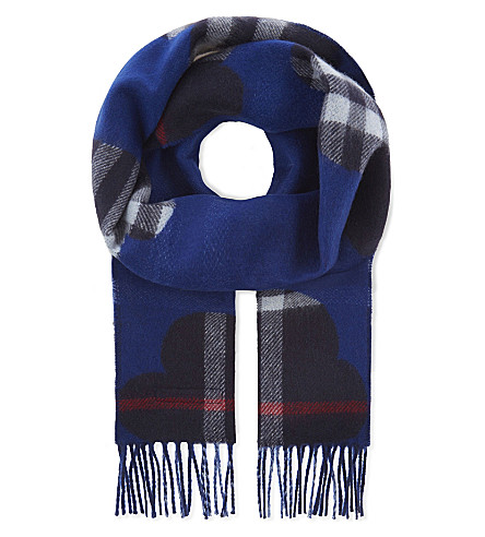 BURBERRY Reversible cashmere scarf (Bright+cobalt