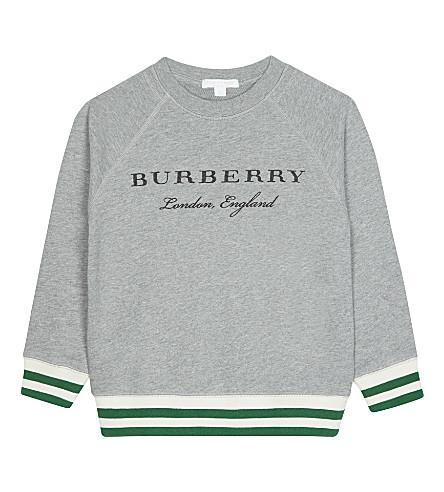 BURBERRY Stanley striped cuff cotton jumper 4-14 years (Grey+melange