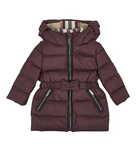BURBERRY Bow detail padded coat 12-36 months (Dark+plum