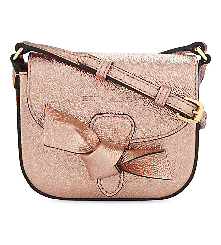 BURBERRY Metallic leather shoulder bag (Copper+pink