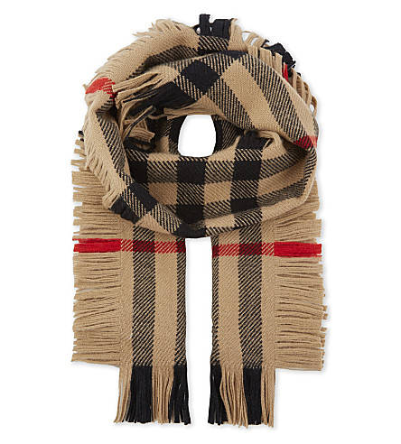 BURBERRY House check wool scarf (Camel+check