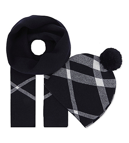 BURBERRY House Check cotton-cashmere beanie and scarf set (Navy