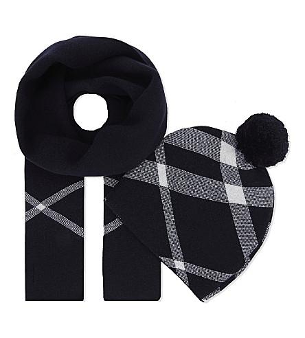 BURBERRY 家格纹棉绒帽和围巾套装 (海军