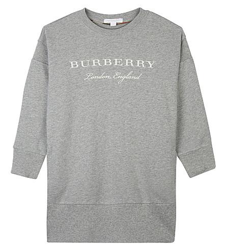 BURBERRY Soure cotton jumper dress 4-14 years (Grey+melange