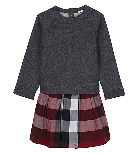 BURBERRY Checked sweater dress 4-14 years (Parade+red
